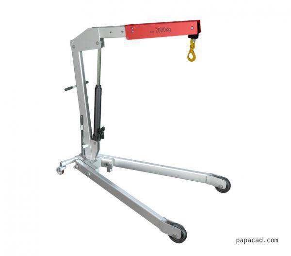 Workshop crane design 3D model and 2D CAD drawings