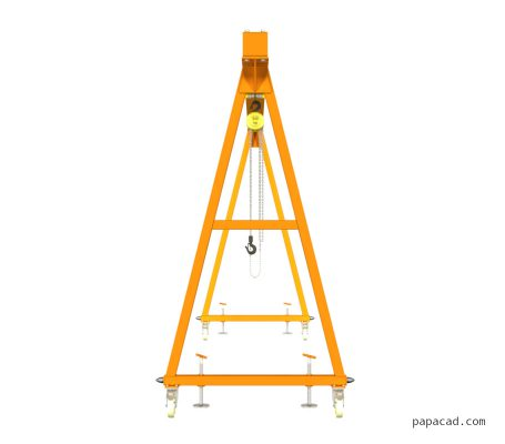 500kg Gantry design 2D drawings and 3D models papacad.com