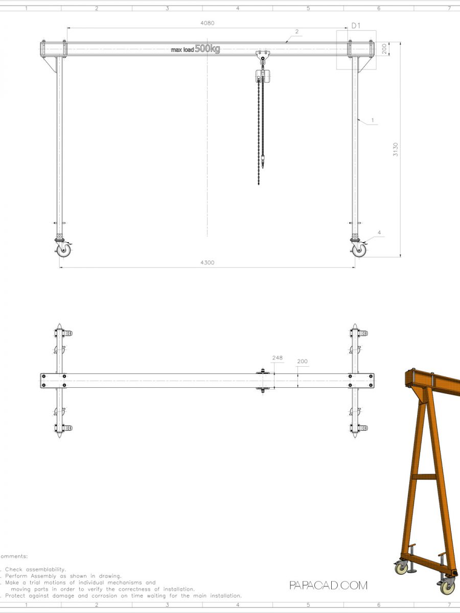 Gantry crane plans homemade gantry crane cad project for Online cad drawing