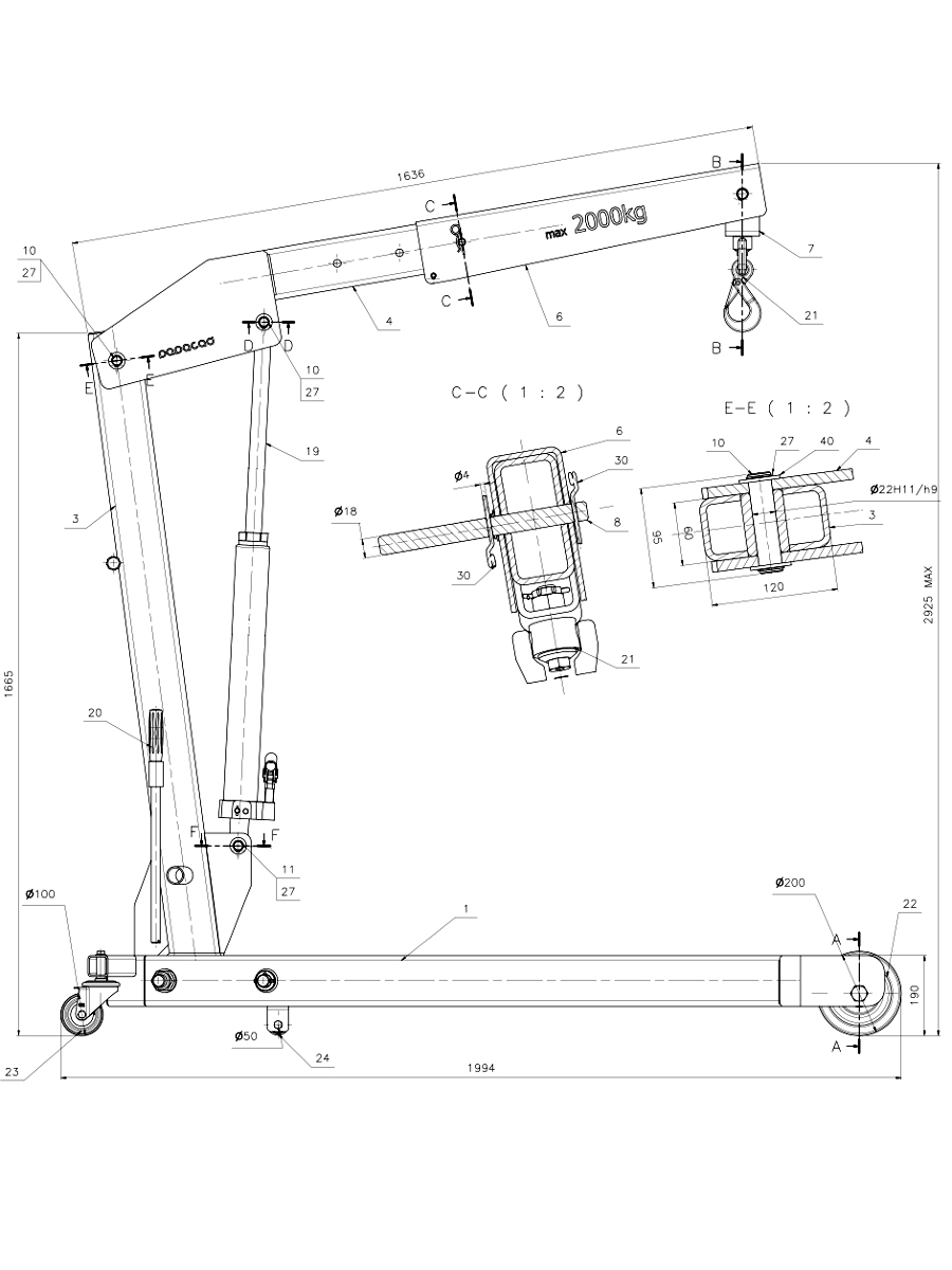 Foldable shop crane workshop crane design cad drawings for Cad blueprints