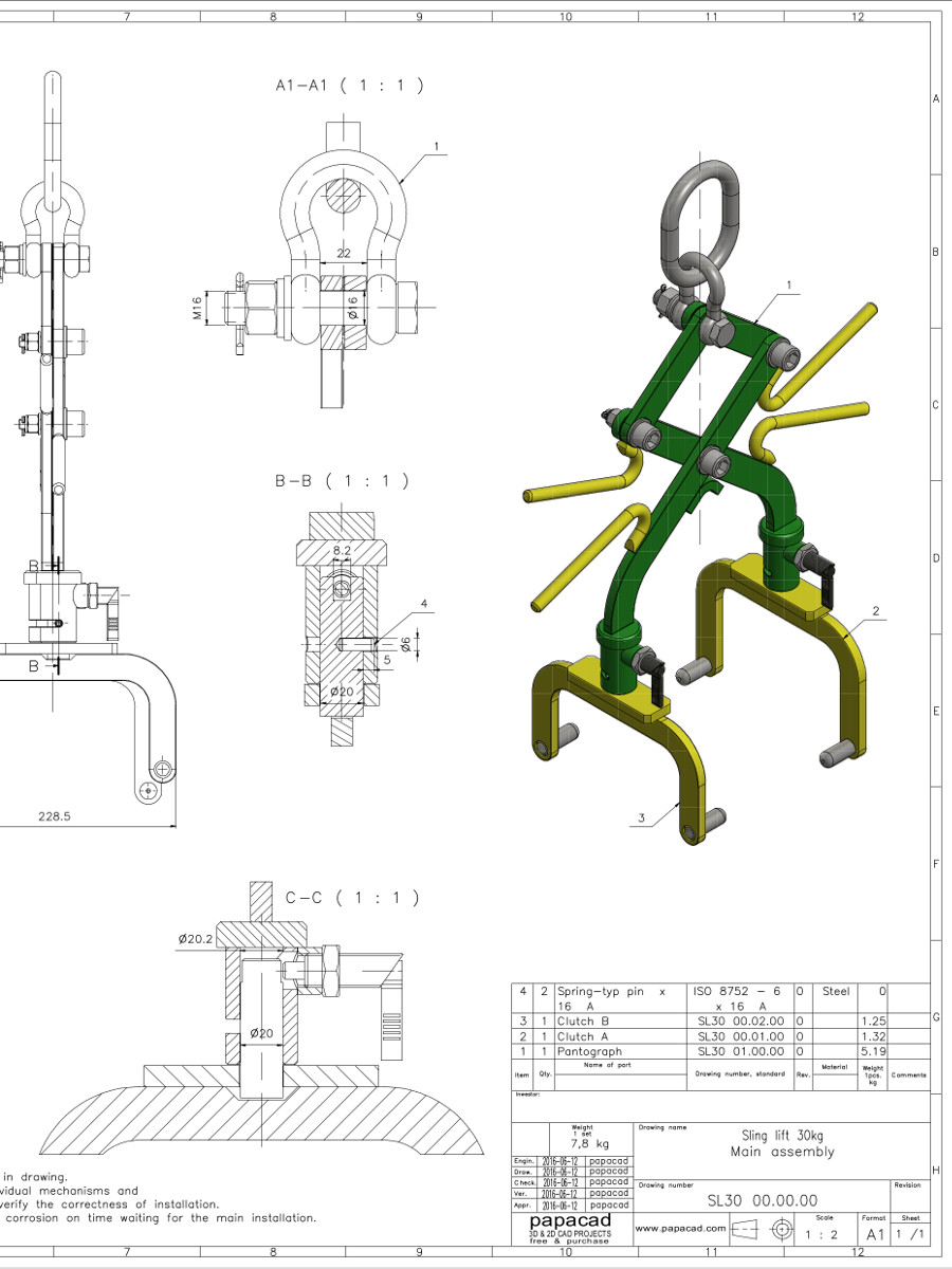 Free cad drawings scissor sling 3d cad models free for Online cad drawing