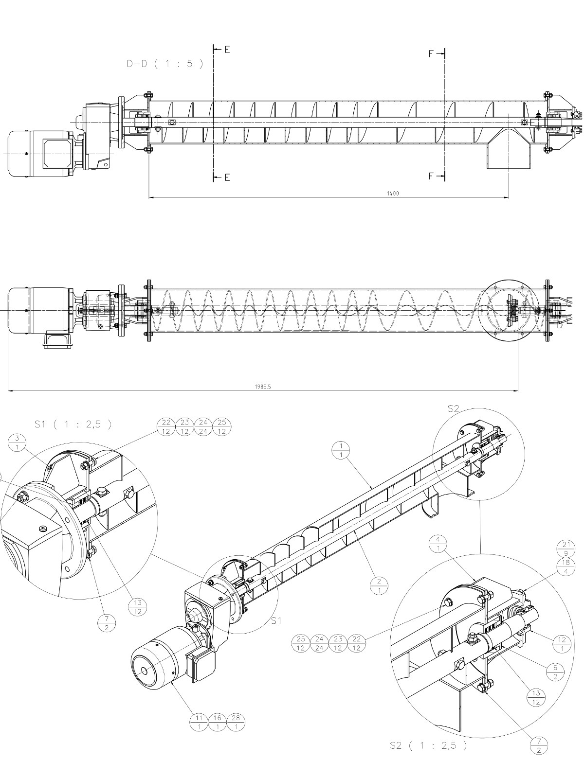 Screw conveyor design CAD 3D