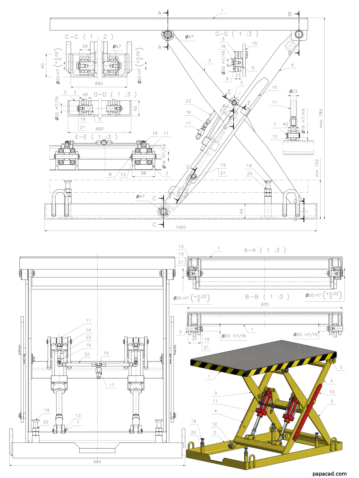 Diy scissor lift table download 3d and 2d cad complete for Cad blueprints