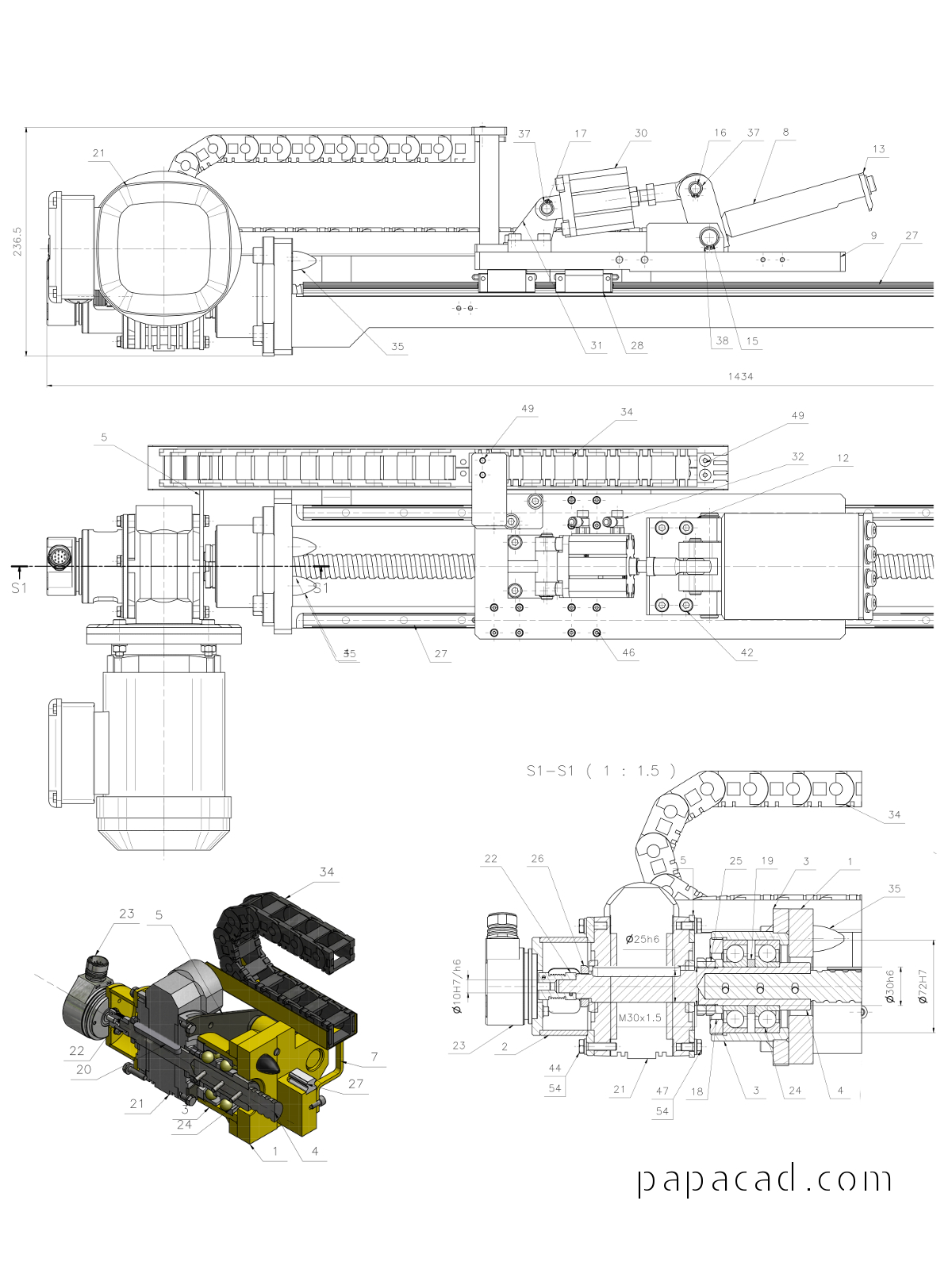 Ball Screw Engine - CAD project download engineering drawings