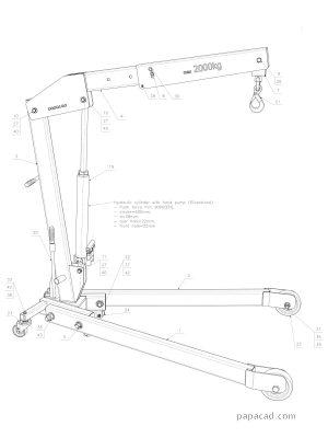 Foldable shop crane 2D CAD documentation _ hydraulic crane project pdf