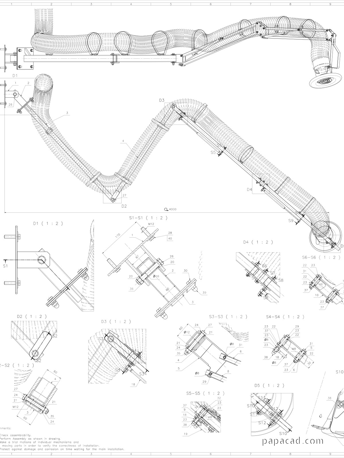 Extraction arm free cad models and cad drawings for Modelli cad 3d free