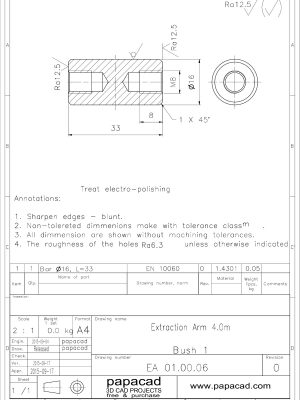 Extraction arm CAD drawings - papacad.com