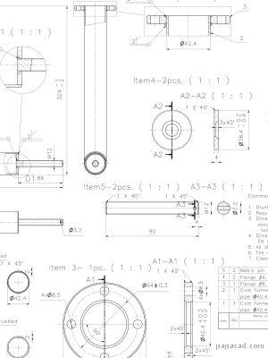 Scissor screw table 2D drawings