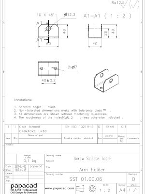 Screw Scissor lifter 2D DWG