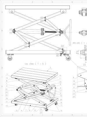 Screw Scissor Table Drawing