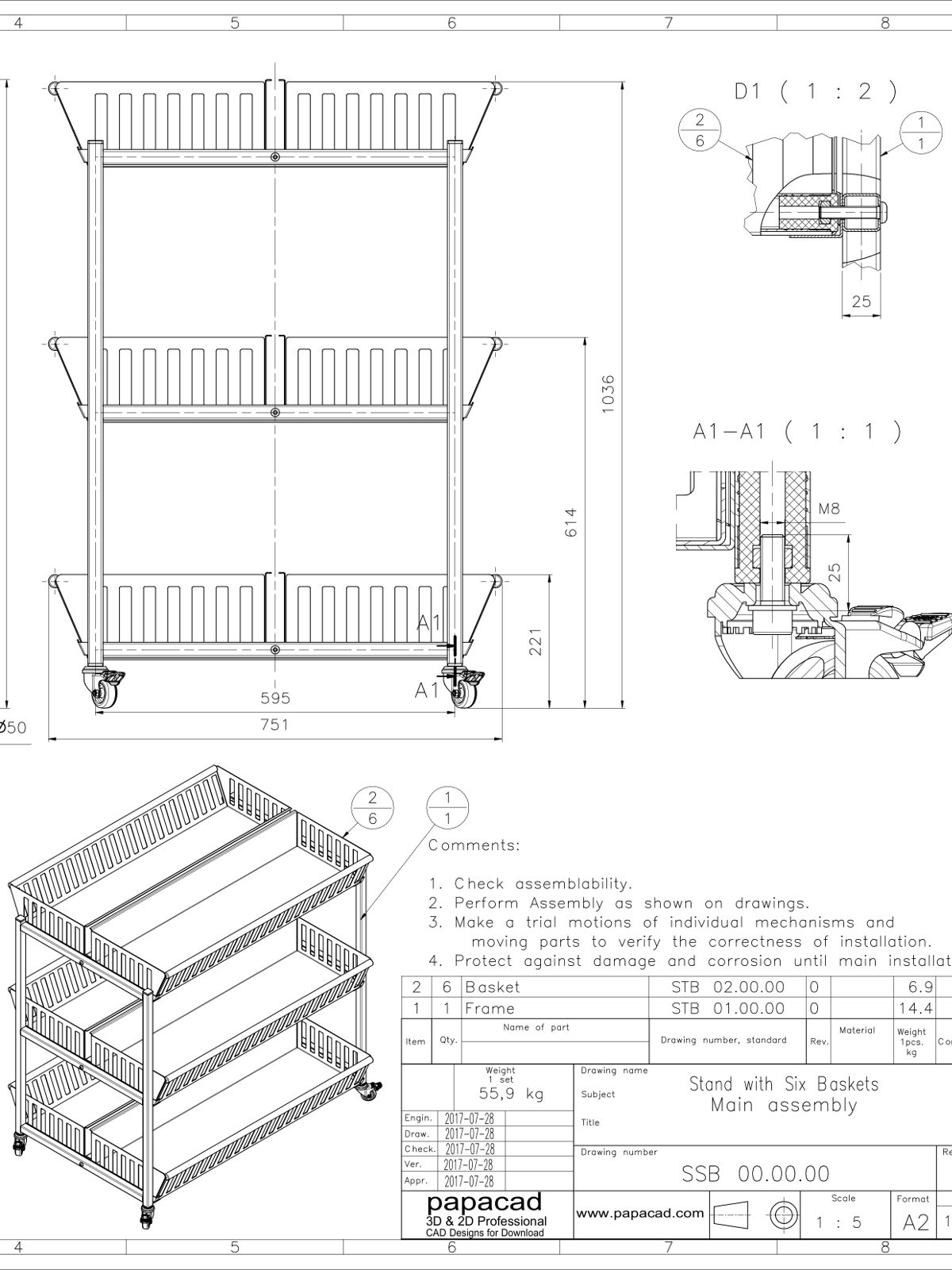 Stand with baskets free cad design download cad models for Online cad drawing