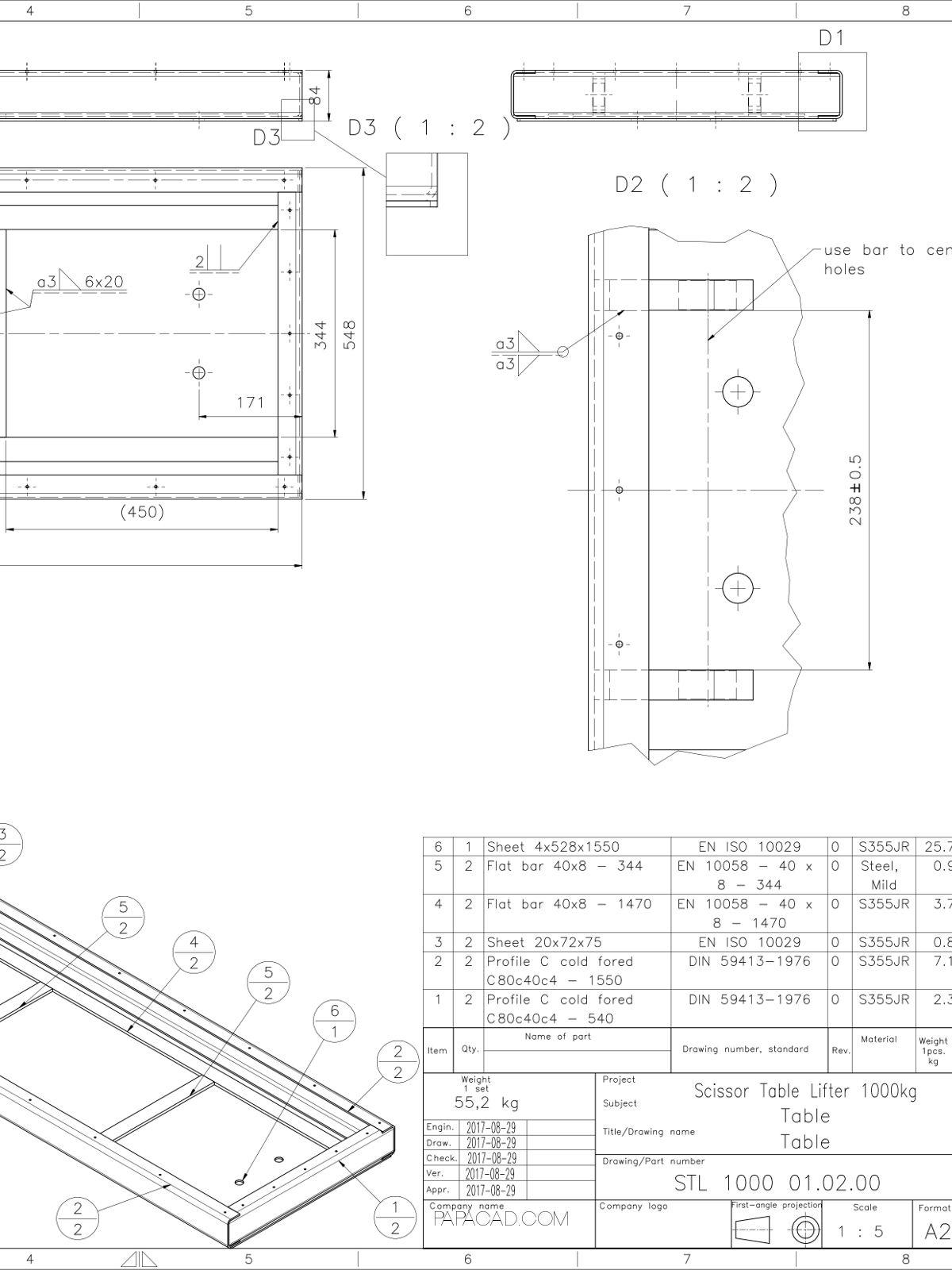Scissor Table Lift CAD drawings
