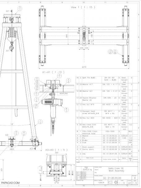 10t Heavy gantry crane drawings 2D