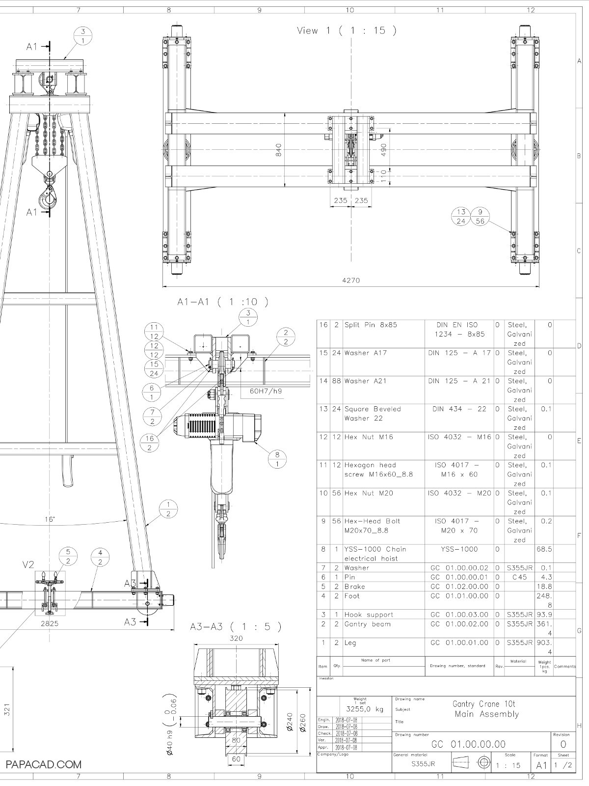 Gantry Crane Design Download Diy Project Schematic 10t Heavy Drawings 2d