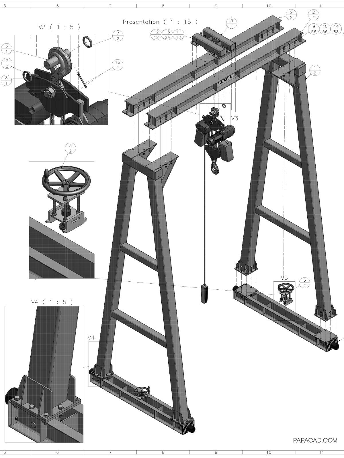 10t Gantry Crane 3D drawings