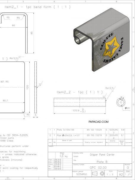 2D drawings Gripper Panel carrier DIY