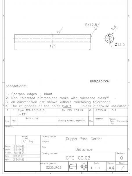 AutoCAD Project Gripper Panel carrier papacad.com