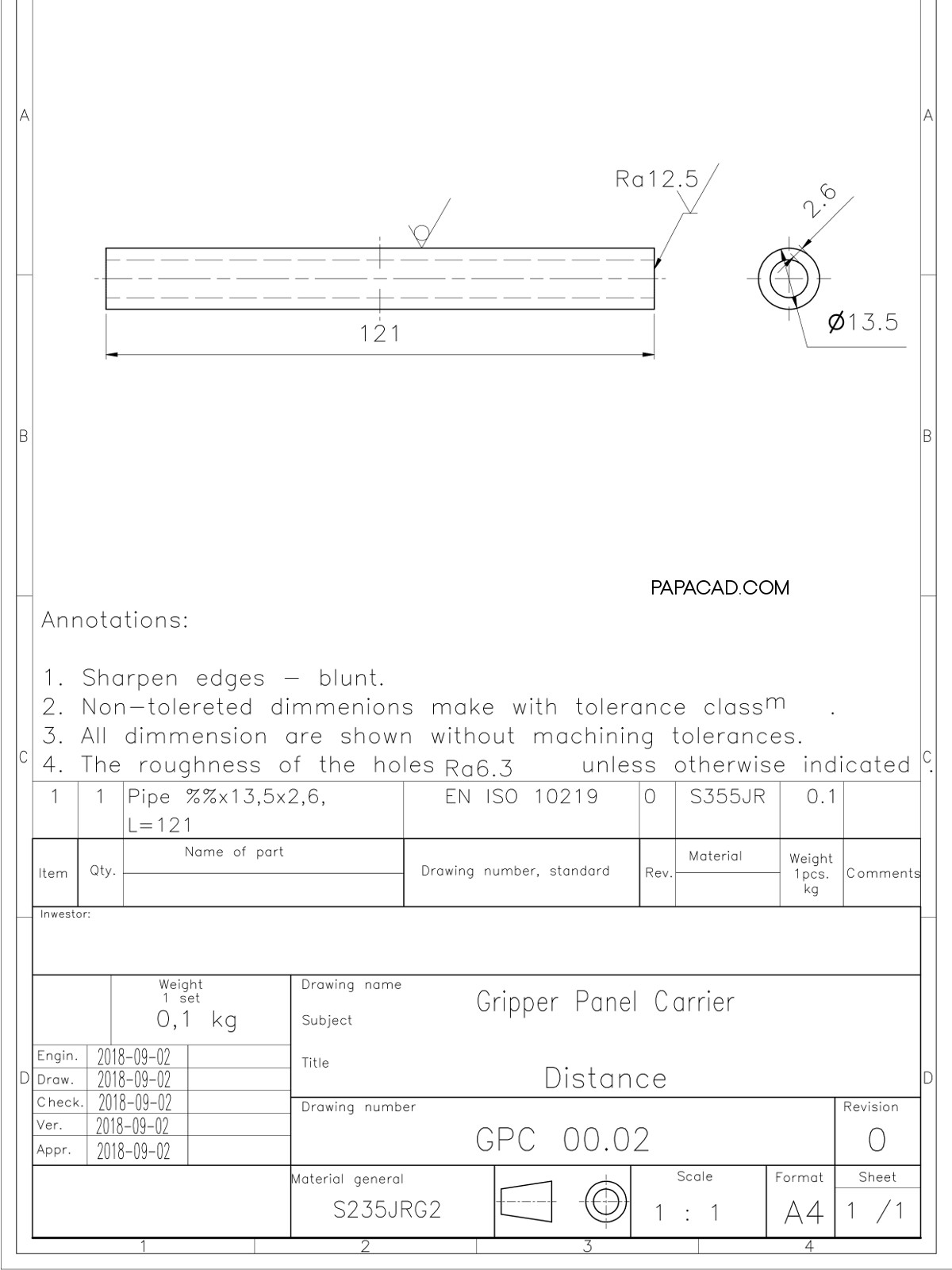 AutoCAD Project Gripper Panel carrier papacad.com