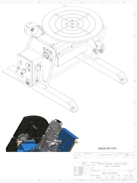 Welding turntable positioner drawings
