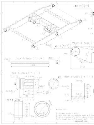 Hydraulic scissor table lifter 1200kg CAD plans
