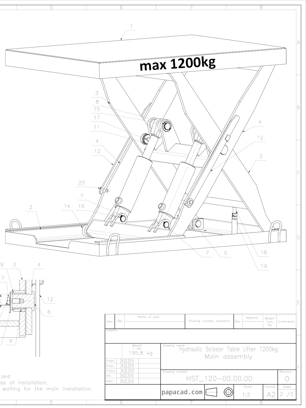 1200kg Scissor Table Lifter - Complete CAD design (3D Inventor, STEP, STL,  DWF and 2D CAD drawings)