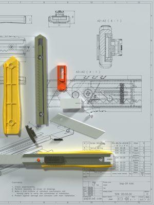Snap-off knife CAD design