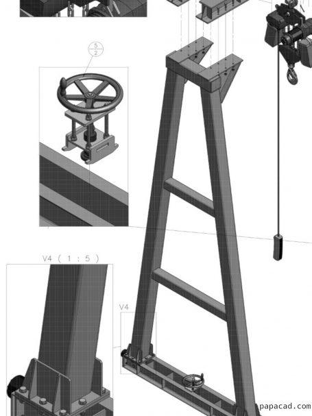 10t Gantry Crane design and 3D drawings