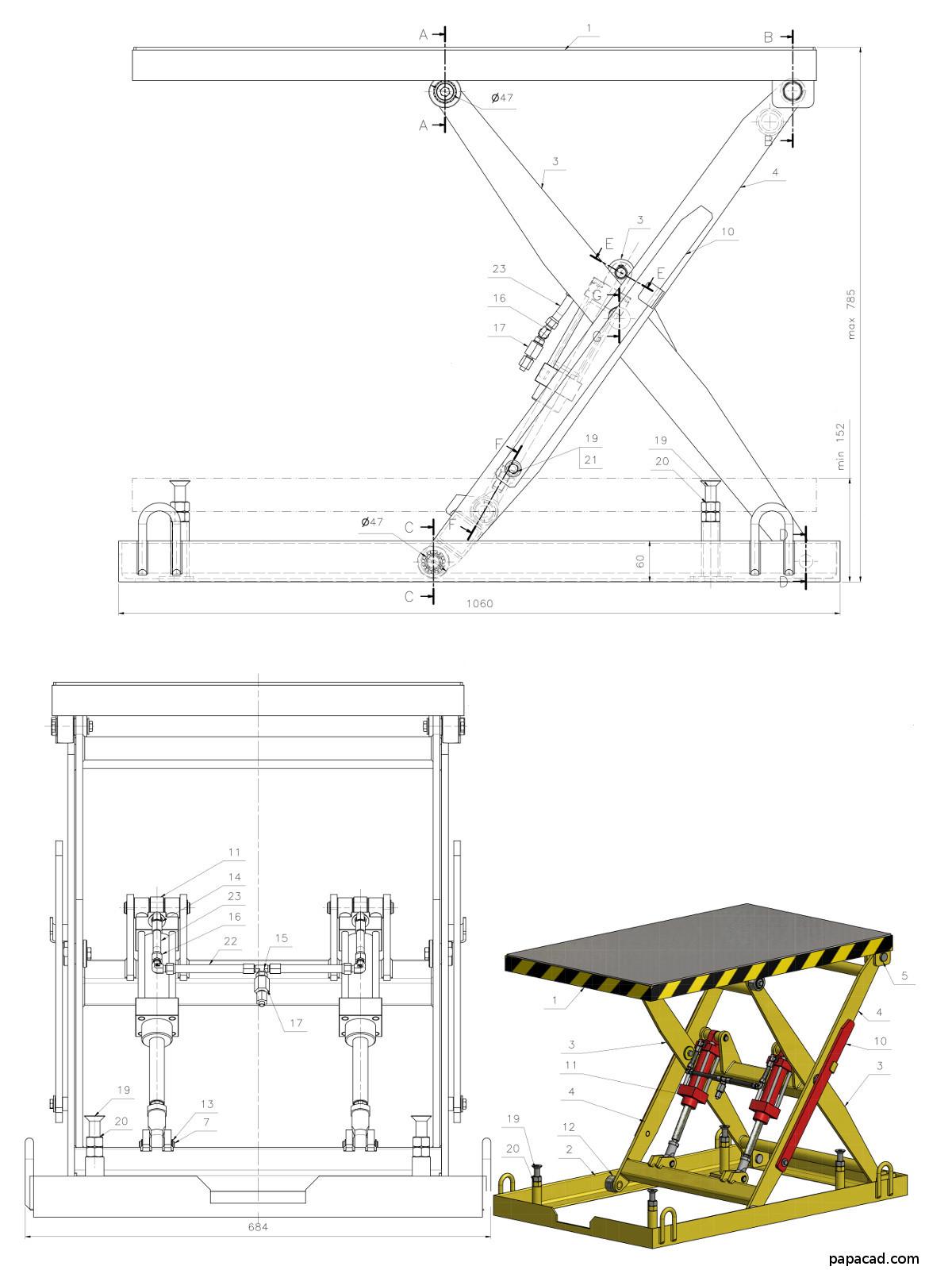 Diy scissor lift table - Download 3D and 2D CAD complete documentation