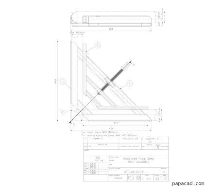 Angle Fixing welding Clamp workshop drawings
