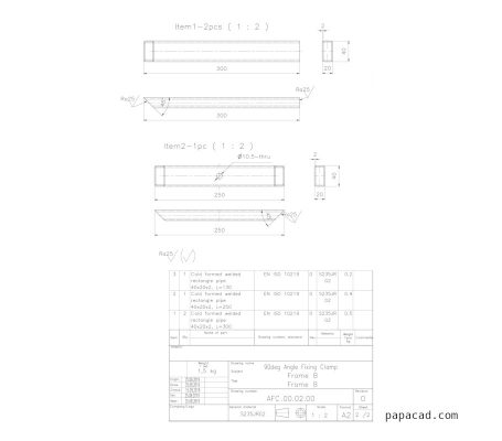 Angle Fixing welding clamp executive drawing