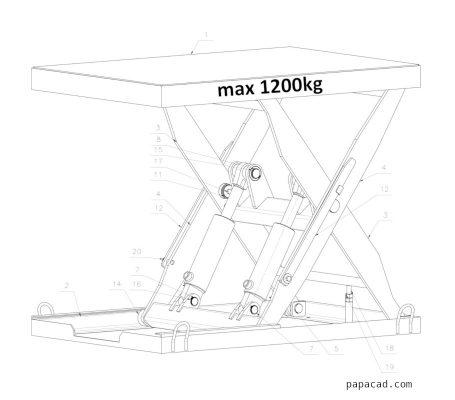 table scissor lift 3D drawings