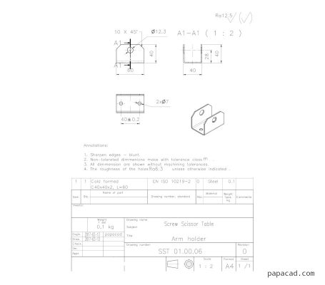 Screw Scissor Table DWG drawings