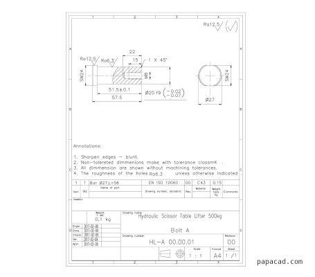 Sissor lift table design