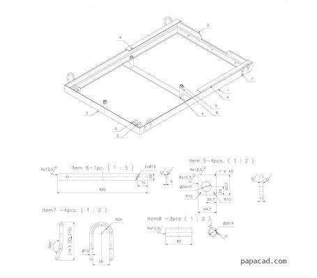 Table scissor lift blueprint drawings