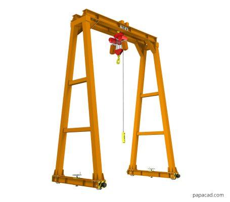 Gantry crane dwg drawings and 3D models papacad