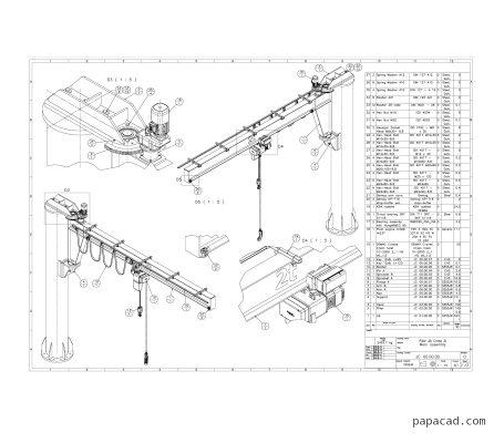 Pillar Jib Crane design drawings from papacad.com