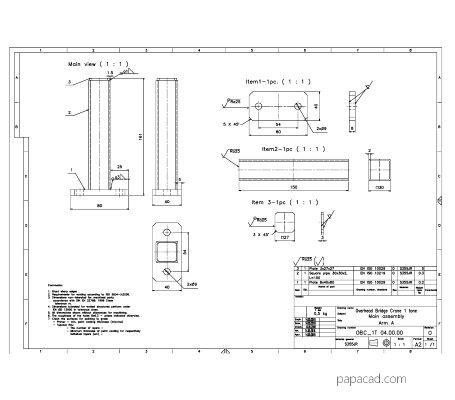 Girder crane 2D plans dwg papacad.com