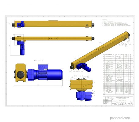 Girder overhead crane project 2D plans drawings download