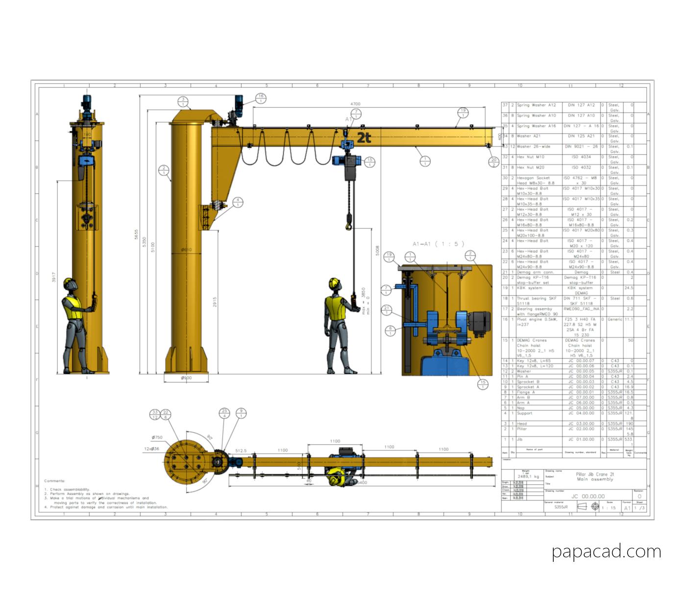Jib Crane Design Drawings Dwg And Pdf With 3d Models Papacad Com
