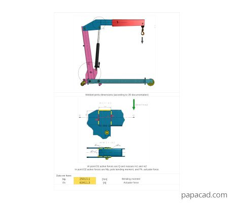Foldable crane calculations from papacad