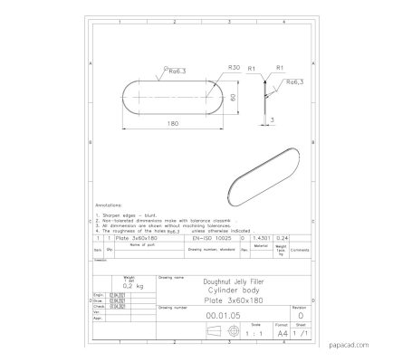 Doughnut Jelly Filler 2D drawings PDF and DWG